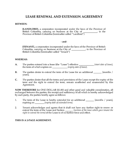 Picture of British Columbia Renewal and Extension of Commercial Lease