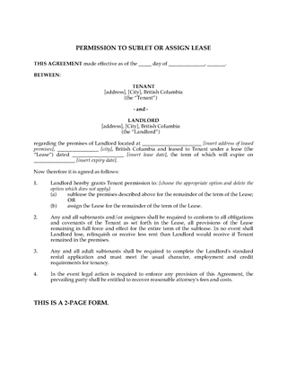 Picture of British Columbia Permission to Sublet or Assign Lease