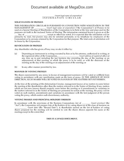 Picture of Information Circular for Shareholder Meeting | Canada