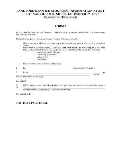 Picture of Notice for Information About Sub-Tenancies | UK