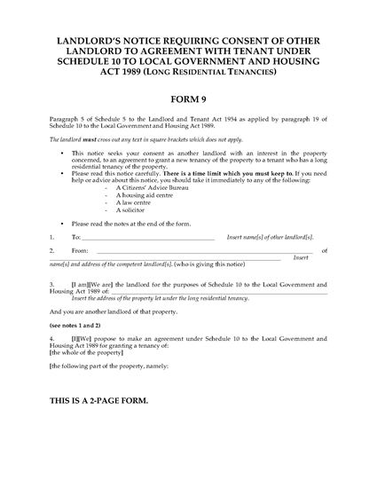 Picture of Form 3 Notice Seeking Possession of Property | England