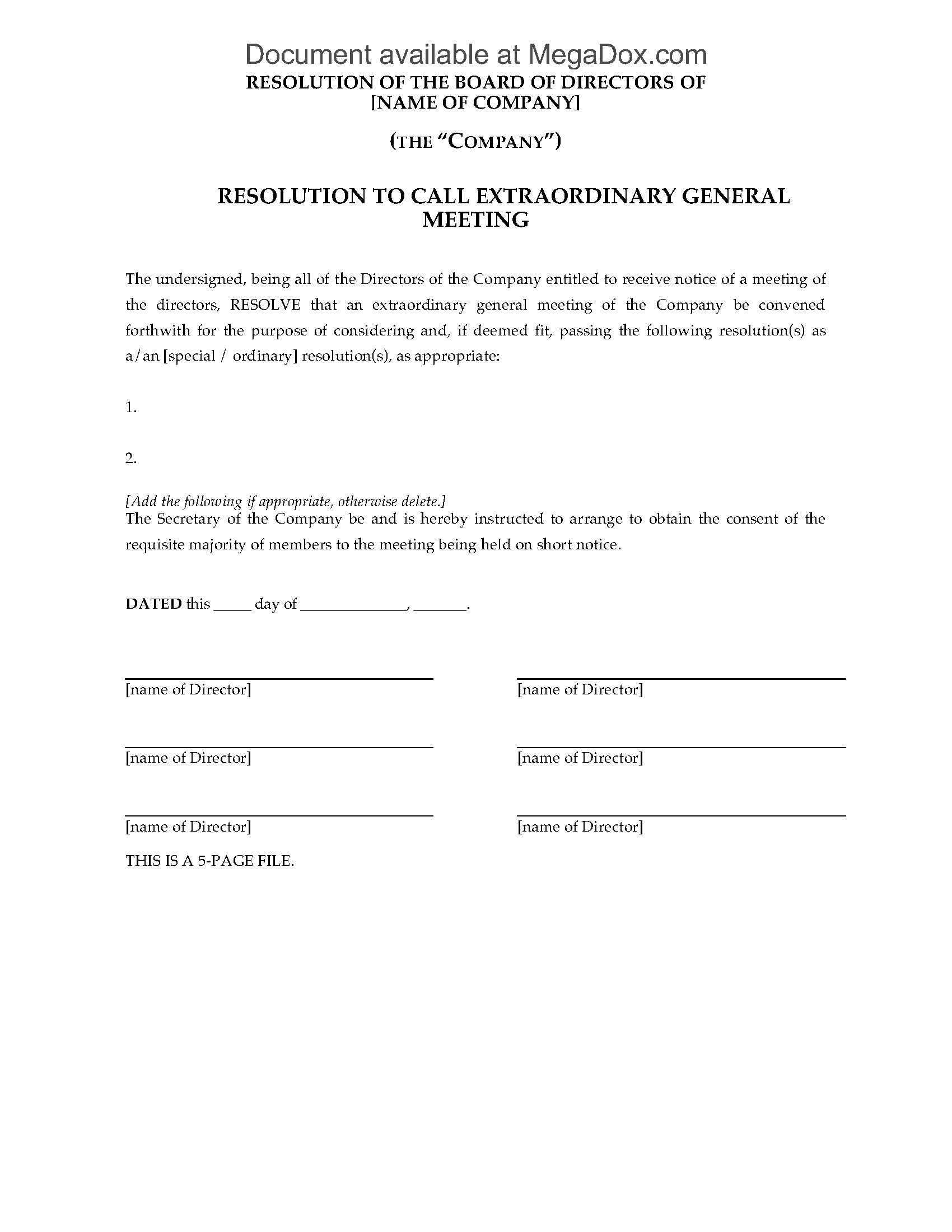uk forms for extraordinary meeting of a company legal forms and