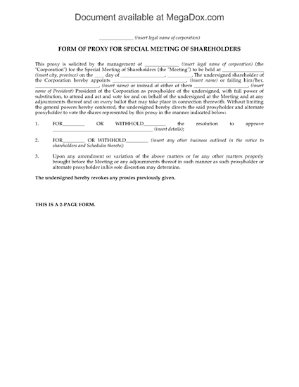 Picture of Shareholder Meeting Proxy Form | Canada