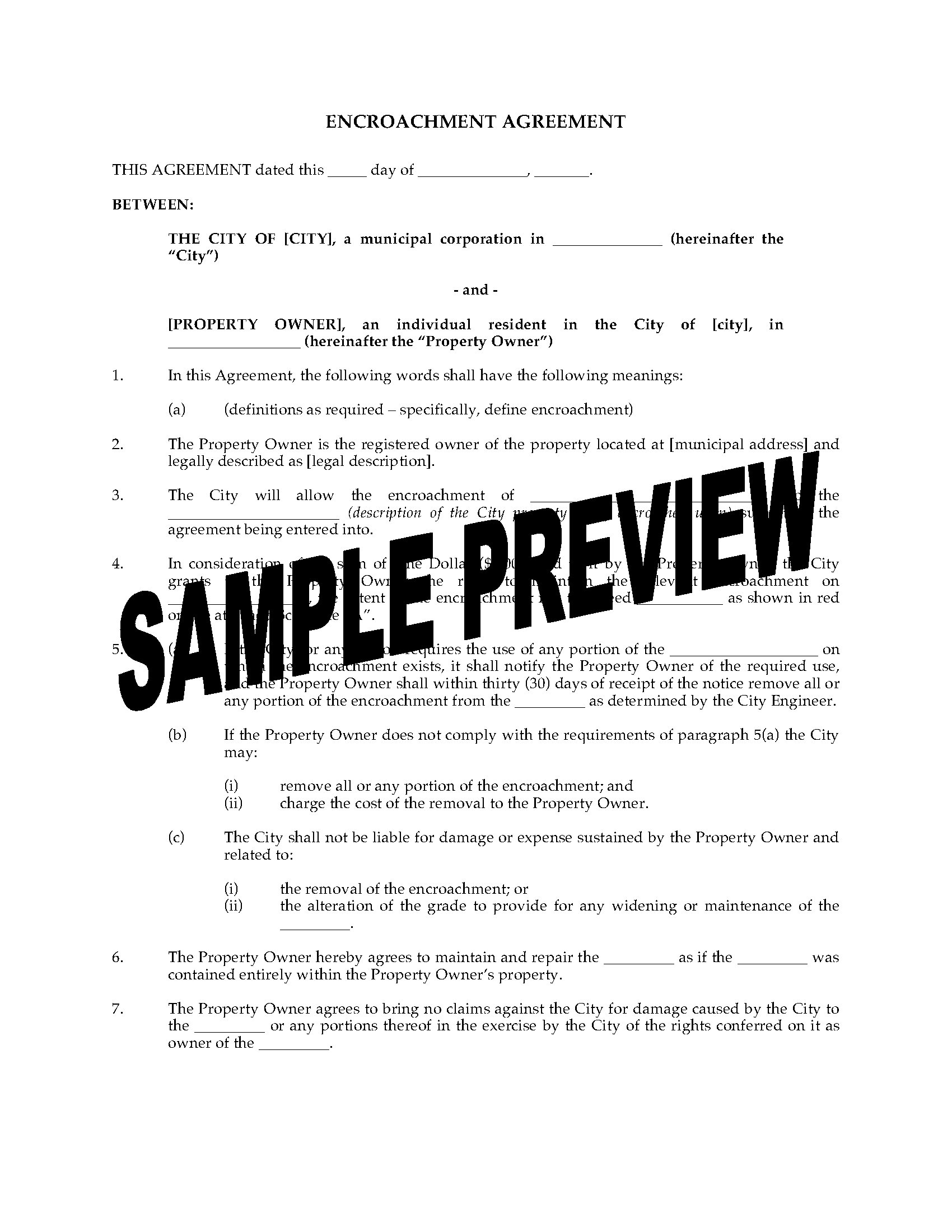 Encroachment Agreement For City Property Legal Forms And Business