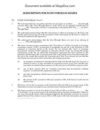 Picture of Subscription Agreement for Flow Through Shares   Canada