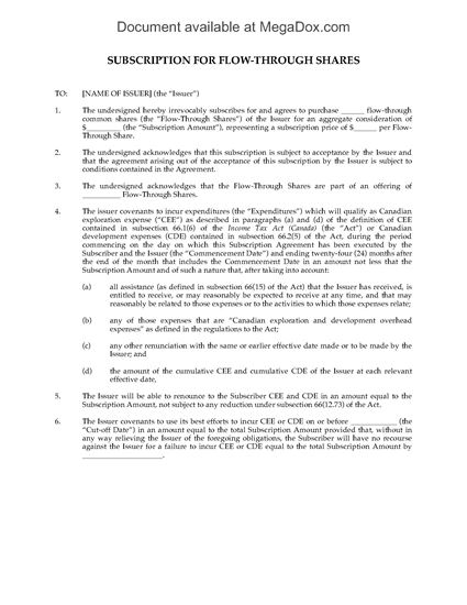 Picture of Subscription Agreement for Flow Through Shares | Canada
