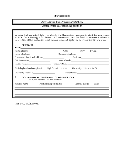 Picture of Franchisee Evaluation and Application Form | Canada