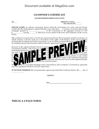 Picture of Alberta Co-Owner's Certificate for Units in Syndicated Mortgage