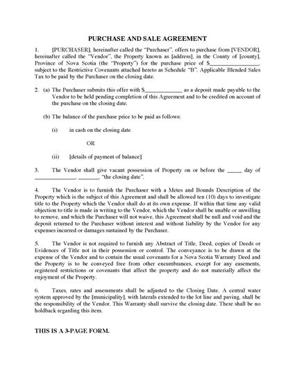 Picture of Nova Scotia Purchase & Sale Agreement for Bare Lot