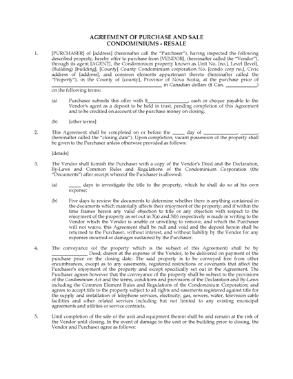Picture of Nova Scotia Purchase and Sale Agreement for Condo Resale