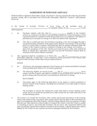 agreement of purchase and sale template nova scotia  Nova Scotia Real Estate Forms | Legal Forms and Business Templates ...