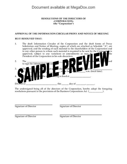 Picture of Directors Resolution Setting Date of Shareholder Meeting | Canada