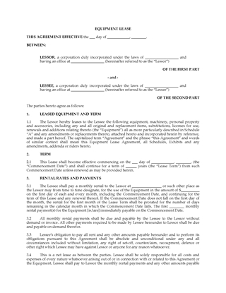 Picture of Net Equipment Lease Agreement | Canada