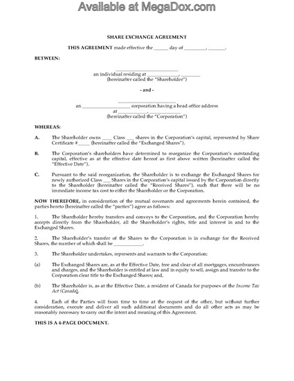 Picture of Share Exchange Agreement (Reorganization) | Canada