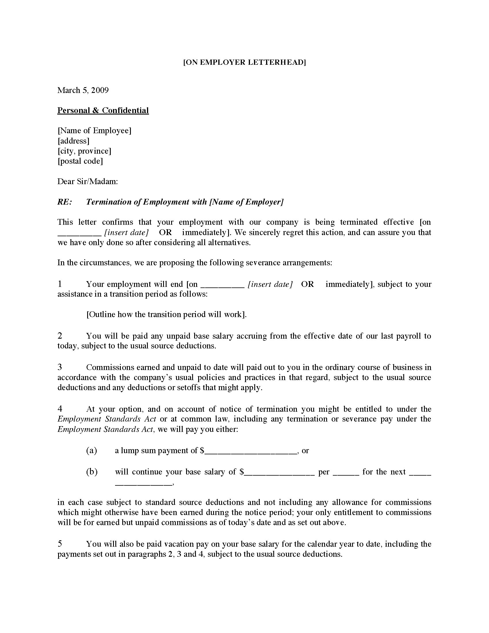 Sample Termination Letter Without Cause Canada