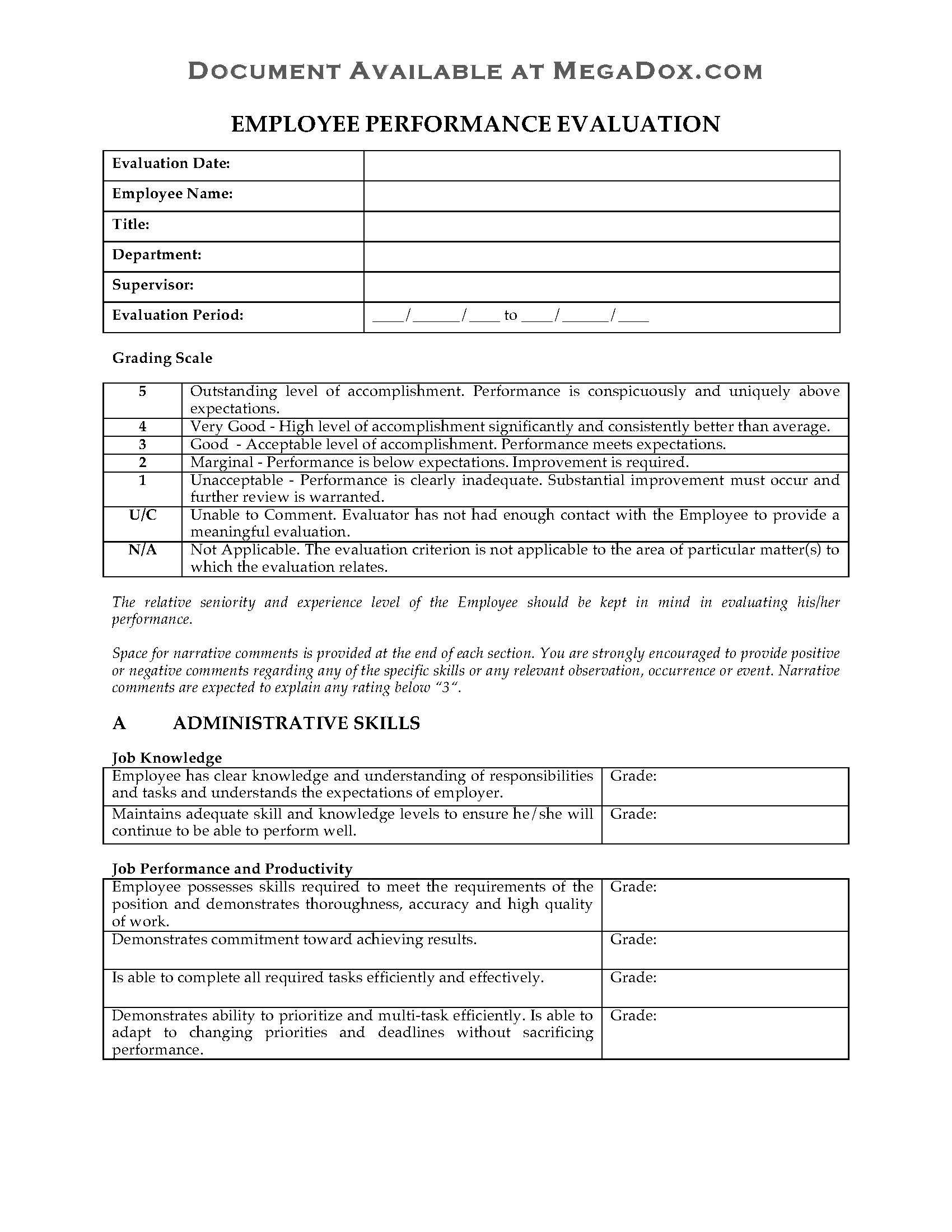 Employee Performance Review Evaluation Form Legal Forms And
