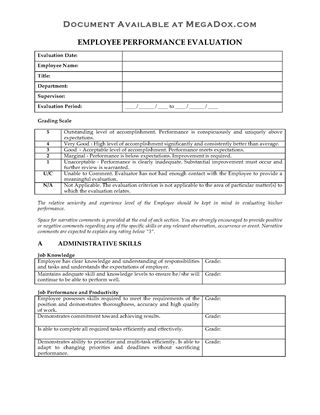 Picture of Employee Performance Review Evaluation Form