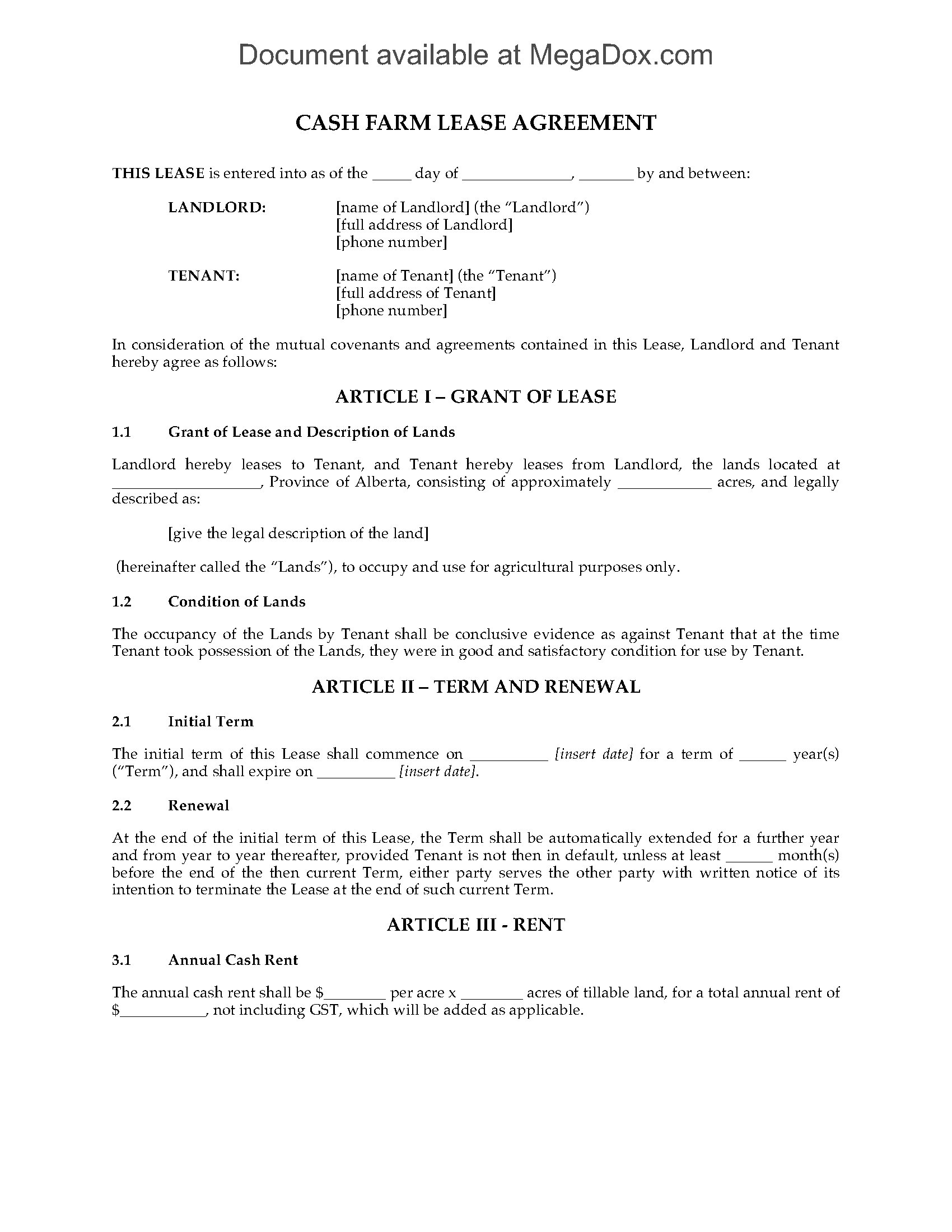 alberta cash farm lease agreement legal forms and. Black Bedroom Furniture Sets. Home Design Ideas