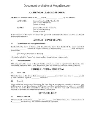 Picture of Alberta Cash Farm Lease Agreement