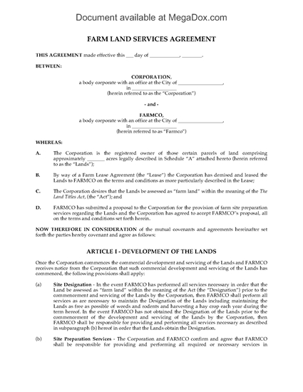 Picture of Alberta Farm Land Services Agreement
