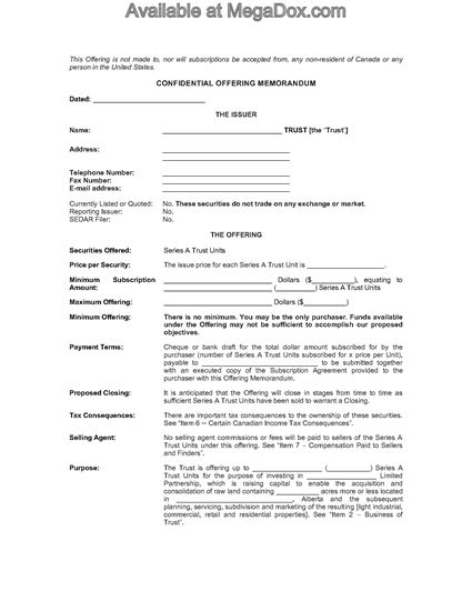Picture of Alberta Offering Memorandum for Real Estate Investment Trust