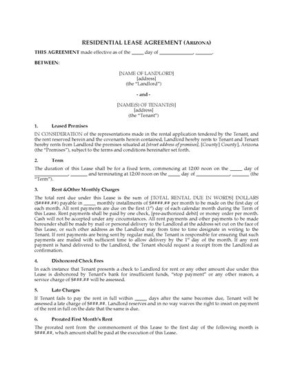 Picture of Arizona Fixed Term Residential Lease