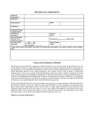 Picture of Box Rental Agreement for Film Production