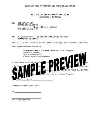 Picture of Florida Notice of Assignment of Commercial Lease