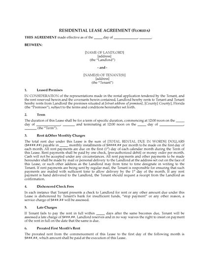 Picture of Florida Fixed Term Residential Lease Agreement