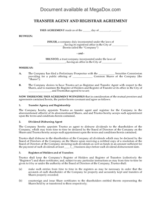 Picture of Transfer Agent and Registrar Agreement   Canada