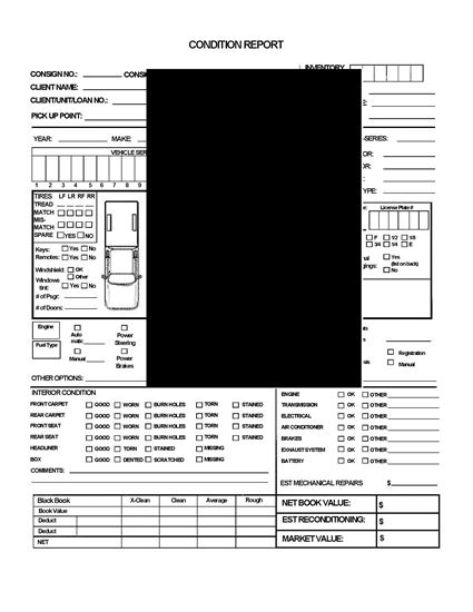 Picture of Vehicle Auction Condition Report for Pickup or Light Truck