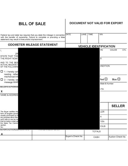 Picture of USA Vehicle Auction Bill of Sale