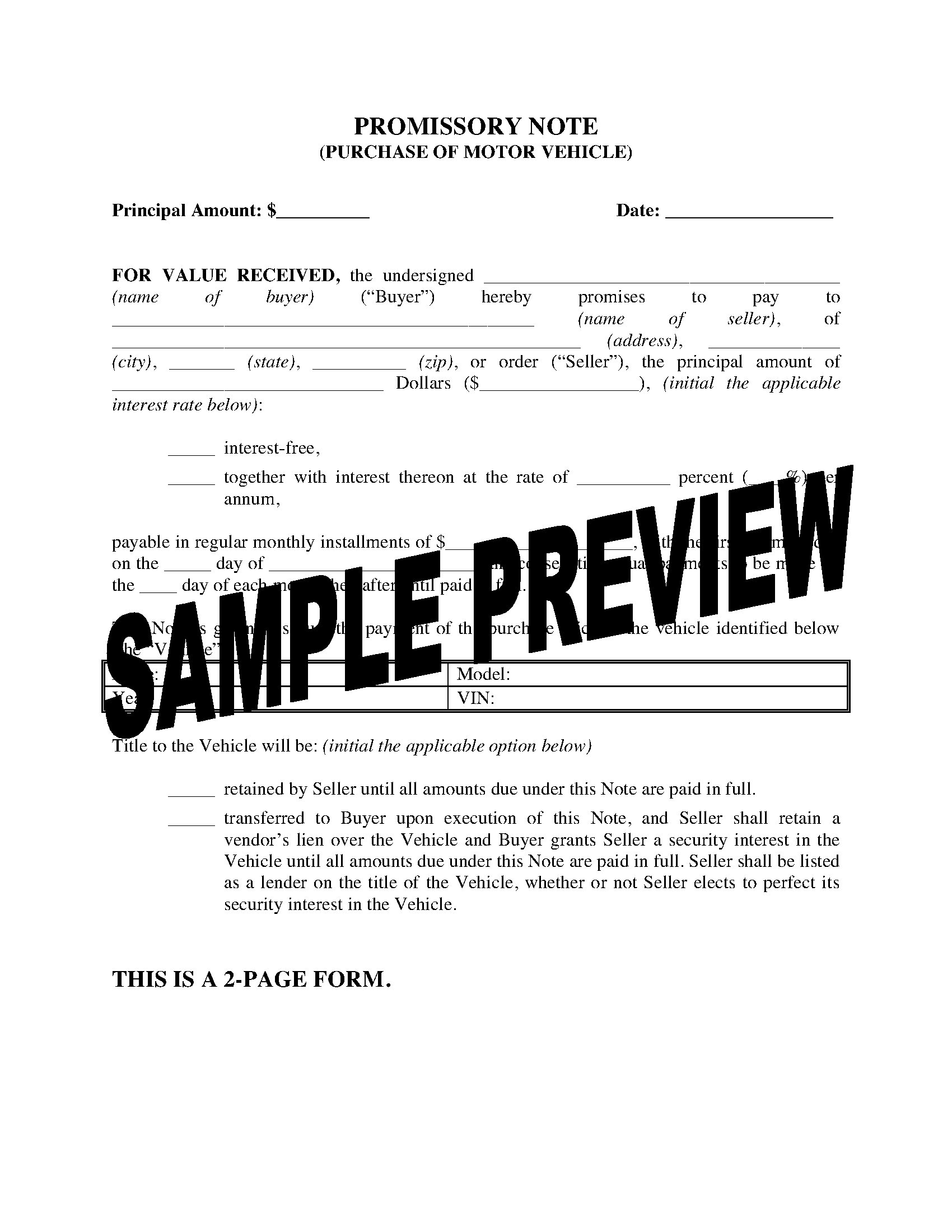USA Promissory Note for Vehicle Purchase | Legal Forms and Business Templates | MegaDox.com