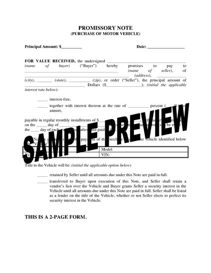Picture of USA Promissory Note for Vehicle Purchase