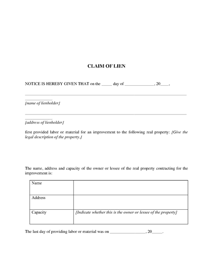 Picture of Michigan Claim of Lien and Proof of Service
