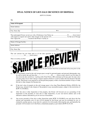 Picture of Washington Final Notice of Lien Sale or Disposal (Self Storage)