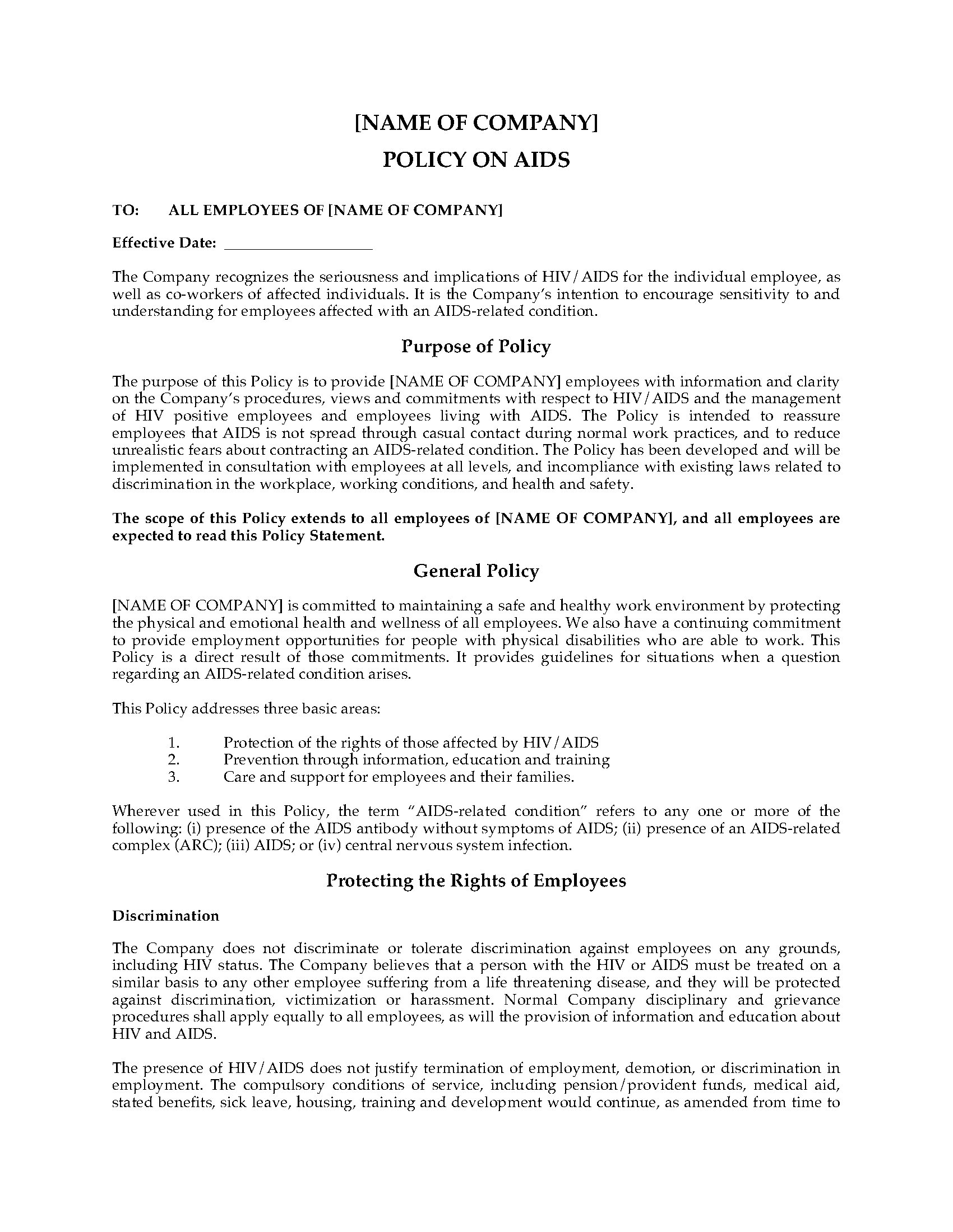 Aids and hiv company policy statement legal forms and for Drug free workplace policy template