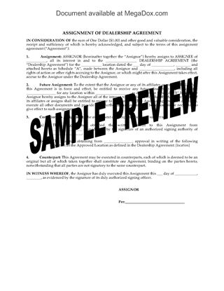 Picture of Assignment of Dealership Agreement
