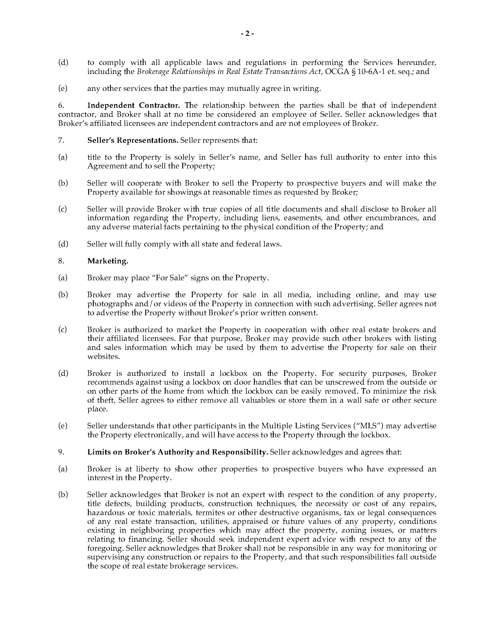 Georgia Open Seller Listing Agreement Legal Forms And Business