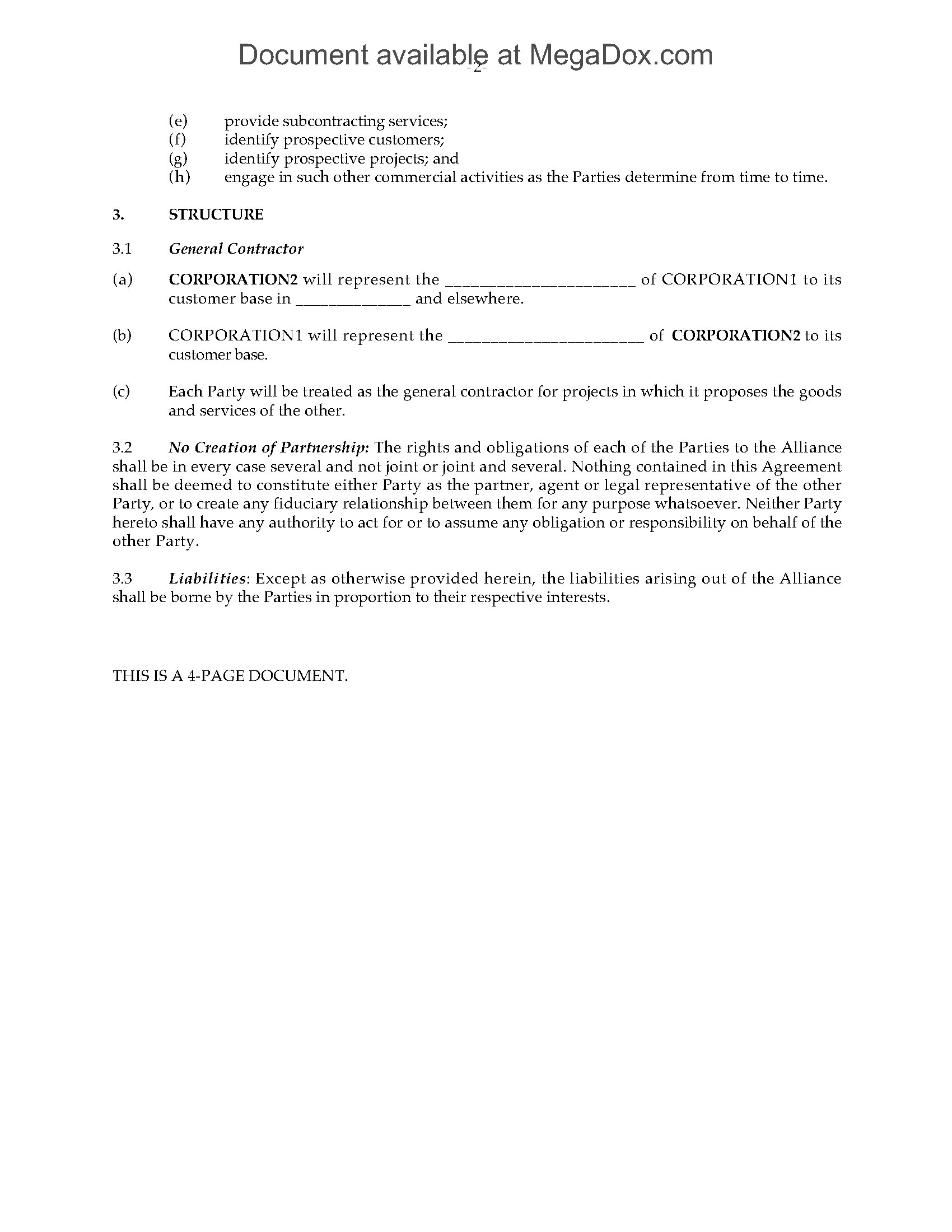 Canada Business Alliance Agreement Legal Forms And Business