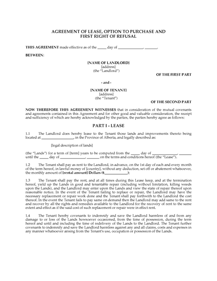 Picture of Alberta Farm Lease Agreement and Option to Purchase
