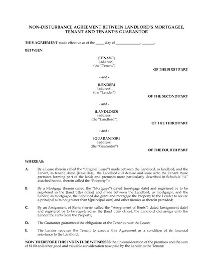 Picture of Nondisturbance Agreement between Landlord, Tenant, Mortgagee and Guarantor