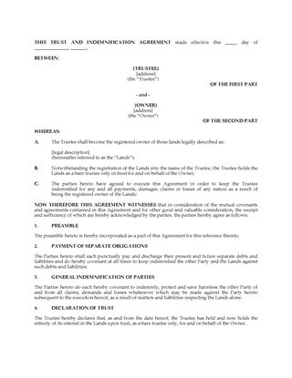 Canada Trust Agreements  Legal Forms And Business Templates