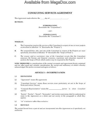 Picture of Consulting and Confidentiality Contract | Canada