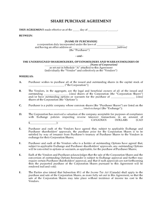 Picture of Alberta Share Purchase Agreement for Reverse Takeover