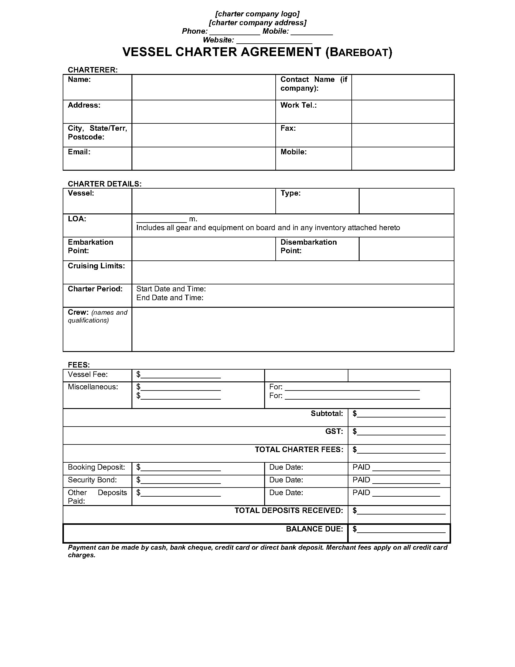 Australia Bareboat Vessel Charter Agreement Legal Forms And