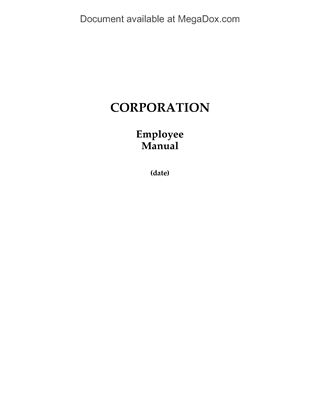 Picture of Employee Manual Template