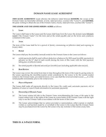 Picture of Domain Name Lease Agreement