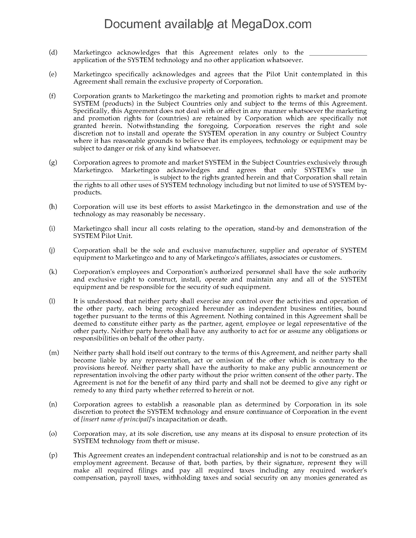 Canada Exclusive Representation And Promotion Agreement
