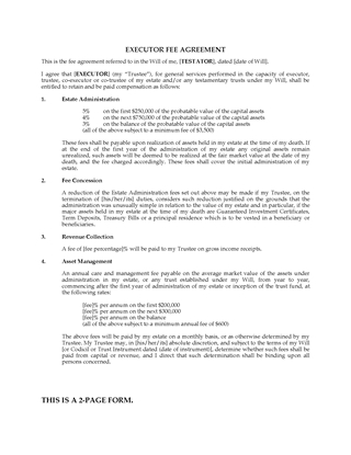 Picture of Executor Fee Agreement